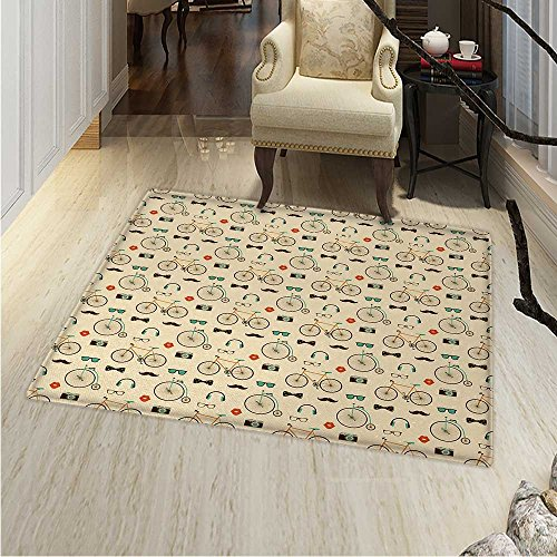 Retro Area Rug Carpet Hipster Style Pattern with Old Fashioned Bicycles Sunglasses Headphones Cameras Lips Living Dinning Room and Bedroom Rugs 30