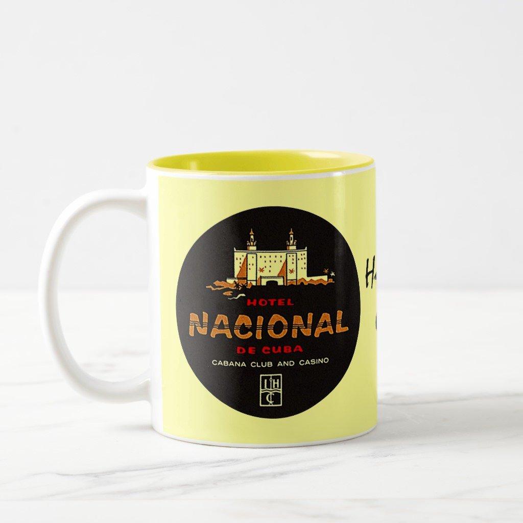 Zazzle Mug Hotel Nacional De Cuba Deluxe Travel Nostalgia, Yellow Two-Tone Mug 11 oz
