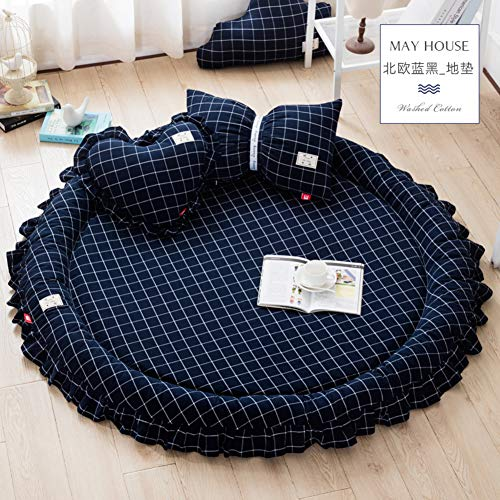 Lovehouse Tatami Floor mat Sleeping, Foldable Soft Thick Mattress Topper Cotton Round Bed,Rugs Baby Play mat Round Carpet Tent Bed -Blue Black Three-Piece Suit