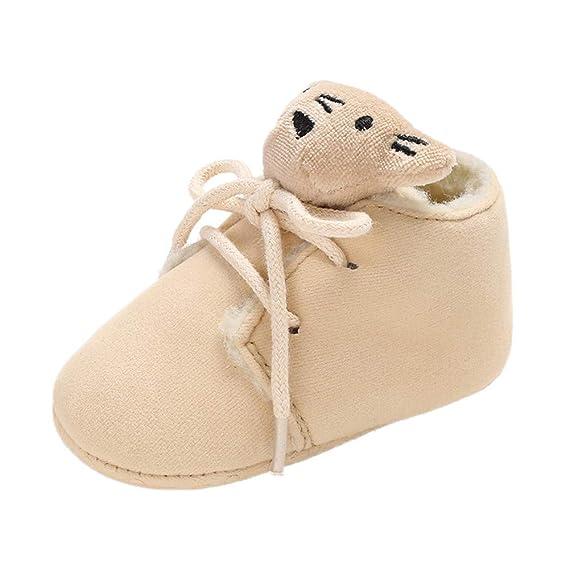 YanHoo Zapatos para niños Botas de algodón para bebés Correas para Osos Botas para niños pequeños