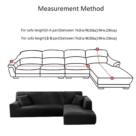 Iraza 2 Piezas Funda de Sofa Elástica Chaise Longue Brazo Largo Modelo Tunez Desde 190 a 300 cm (Negro, 190_x_230_cm)