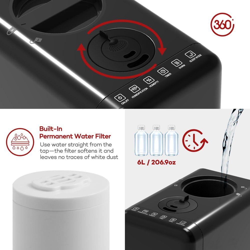 TaoTronics Humidificador Vapor Caliente 6L Añadir Agua de Arriba ...