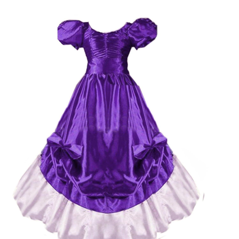Partiss Women Plus Size Short Sleeves Ruffles Bowknot Floor-length Dress