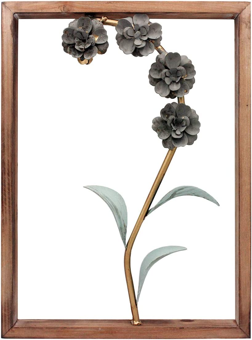 Funerom Metal Flower with Wood Frame Metal Flower Wall Art Decor(11.8×15.8 inchs)