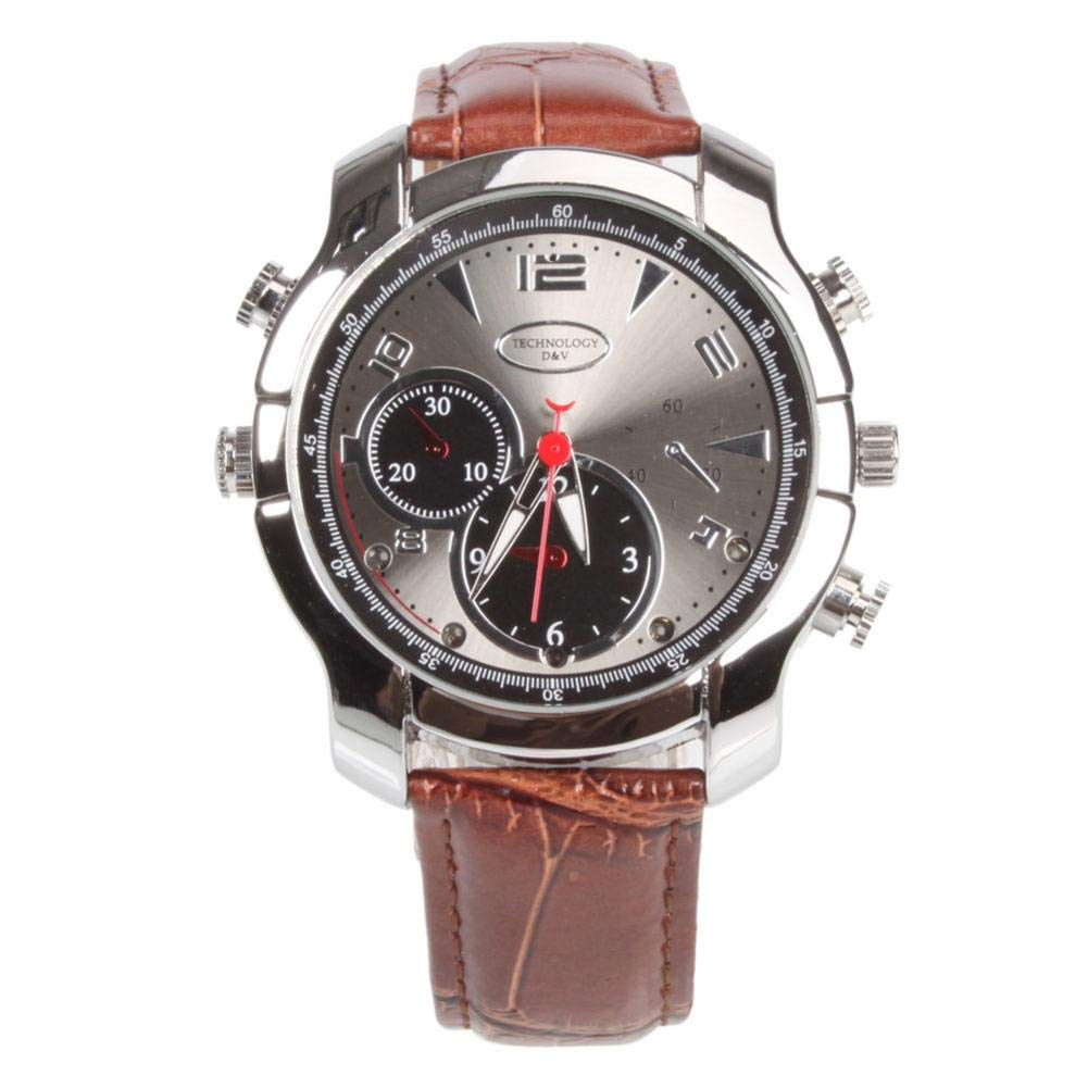 RODADA Video Camera Watch, Q-30 16GB 1080P HD IR Night Vision Multifunctional Recorder Watch, Supports Video and Voice Recording Function Coffee
