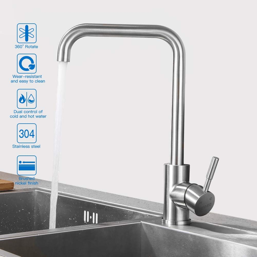 Einhebelmischer Küchenarmatur Wasserhahn Bad//Küche Chrom Spültisch Armatur Neu