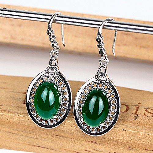 - MZGEHG Earrings Women's Natural Green Chalcedony Earrings 925 Sterling Silver Ear Hook Natural Green Agate Round Earrings Green Stud Earrings Party Accessories,Green