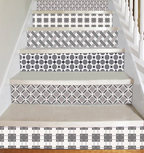 Wallpaper Sticker Strips for Stair Risers Stair Steps Wall Baseboard - Peel and Stick - Self Adhesive Decals - Home Decor DIY - Pack of 5 Strips Step Height 7 inch