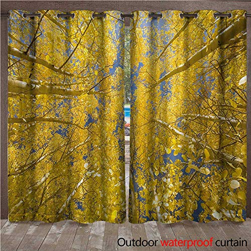 WilliamsDecor Yellow and Blue Home Patio Outdoor Curtain Looking Skyward Amongst The Patch of Sun-lit Aspen Trees in Autumn Life Print W96 x L108(245cm x 274cm)