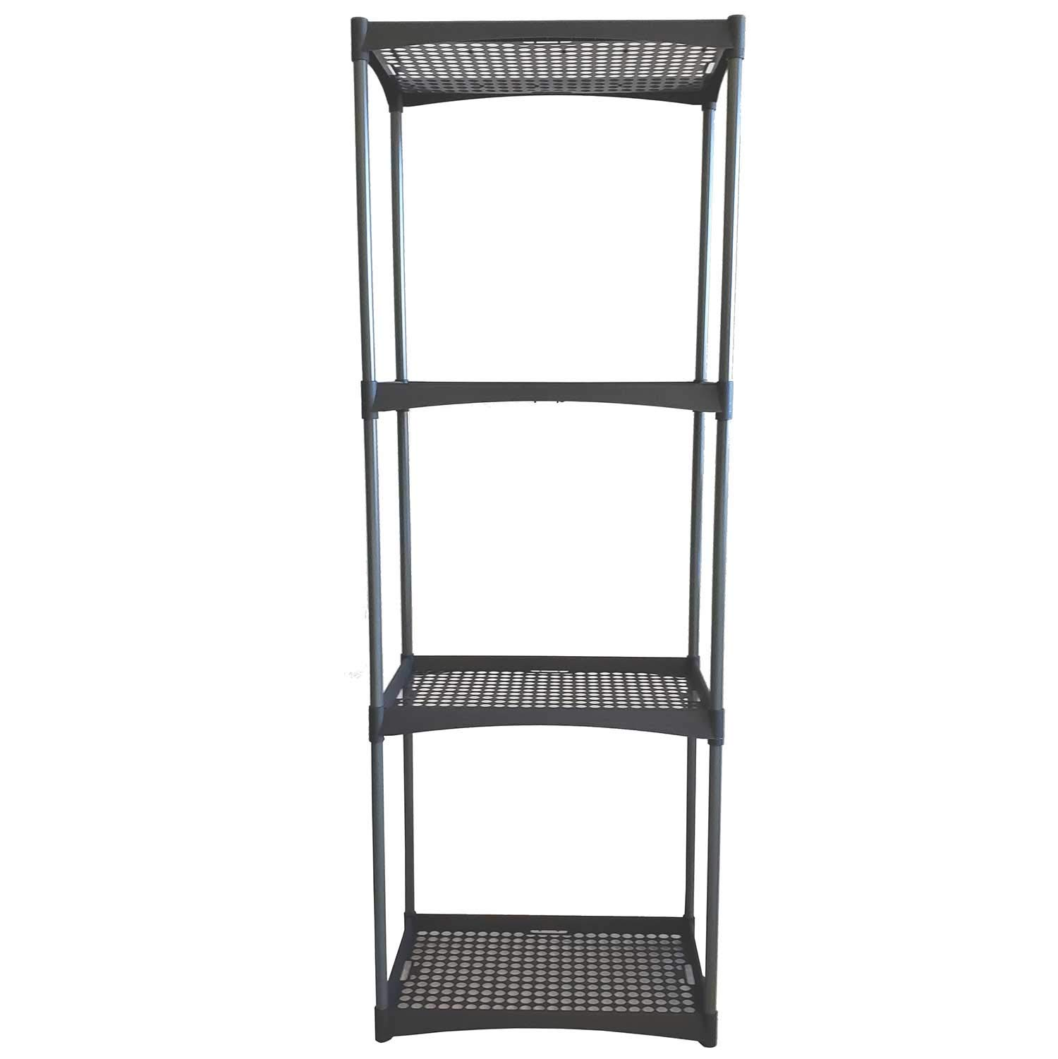 Heavy Duty 4 Tier Garage Outdoor Plastic Interlocking Utility Storage Shelving Unit with Wall Brackets, Black (1)