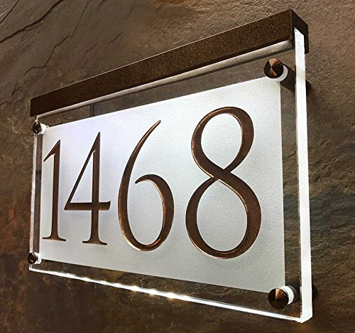 - Crystal Lighted Address Sign! This Address Plaque is Bright and Beautiful