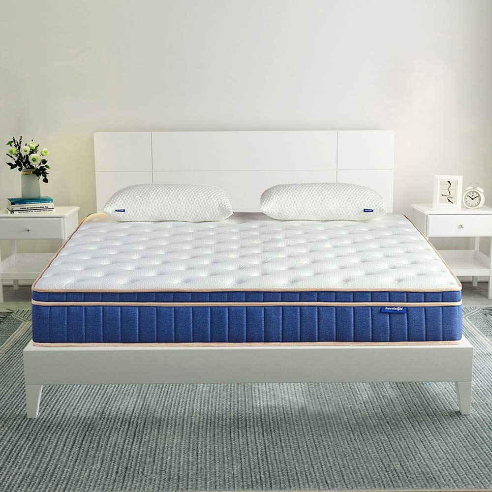 Sweetnight Queen Mattress in a Box – 8 Inch Individually Pocket Spring Hybrid Mattresses,Gel Memory Foam Euro Pillow Top for Sleep Cool,Pressure Relief Supportive,CertiPUR-US Certified,Queen Size