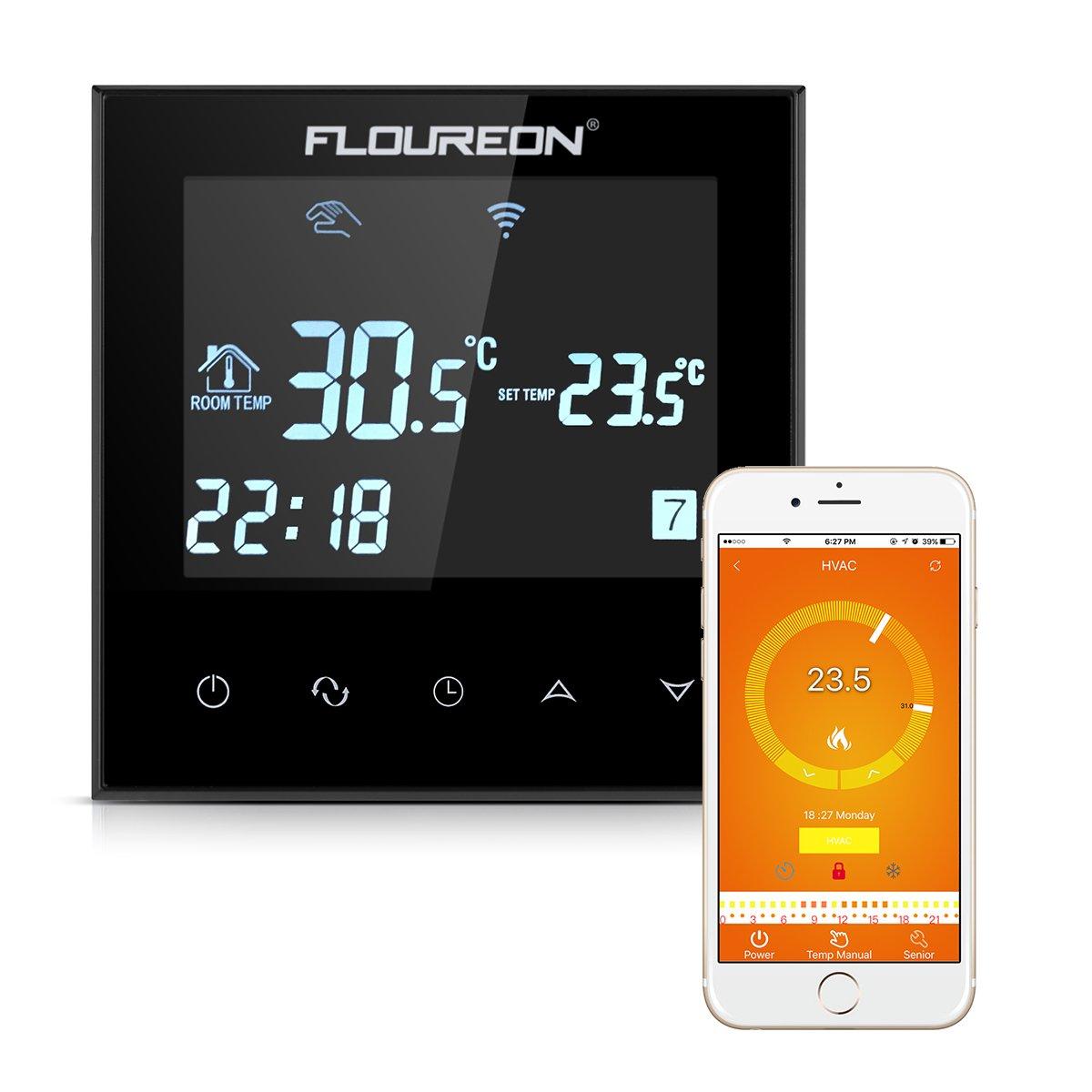 Floureon WIFI Thermostat THERMOSTAT Chauffage Thermostat numérique programmable à Smart réglage de chauffage Thermostat radiateur avec écran LCD tactile pour chauffage au sol électrique