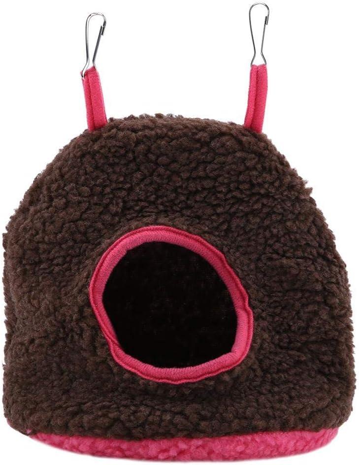 4 Colores nidos de Loros bereber bereber cálido Hamaca de Felpa Colgante Columpio Cama Cueva para Mascota pájaro(Marron Oscuro)