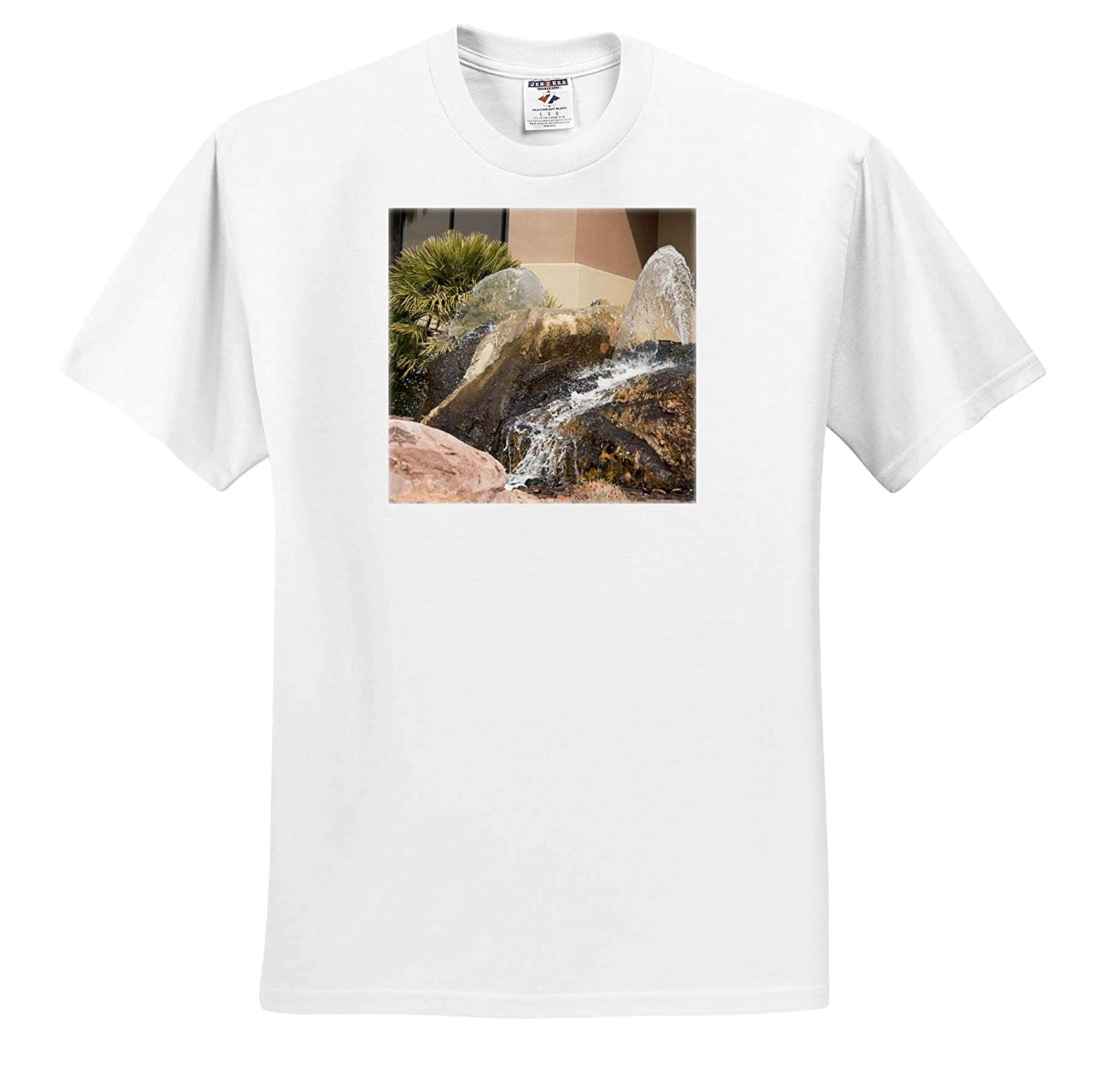 3dRose Jos Fauxtographee- Fountain Landscape George Utah A Fountain in Some Landscaping in St T-Shirts