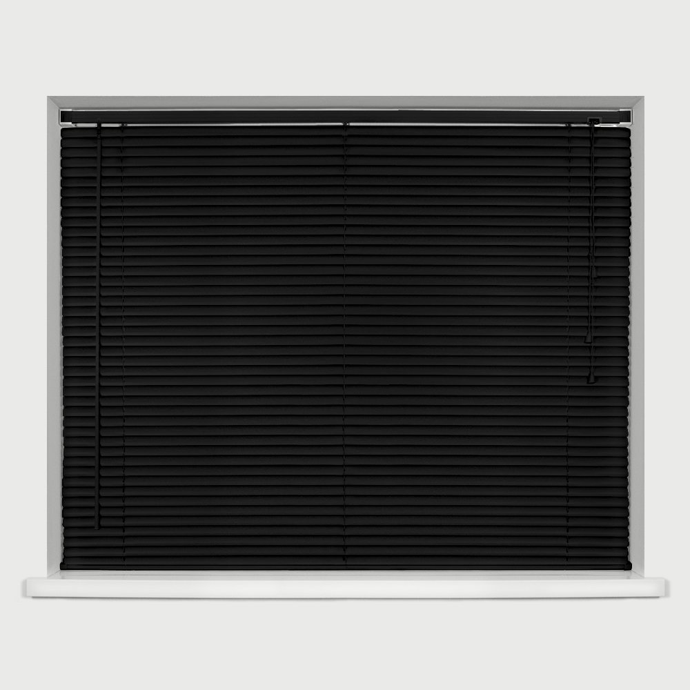 EASYFIT BLACK PVC Venetian blind * AVAILABLE IN WIDTHS 45 cm to 210cm * BLINDS ALSO AVAILABLE IN CREAM AND WHITE * 120 Standard