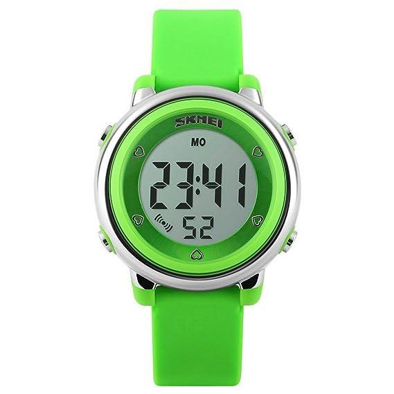 Relojes deportivos para niños, impermeables, reloj despertador, luz de fondo, calendario, reloj digital, relojes de pulsera para estudiantes, color verde: ...