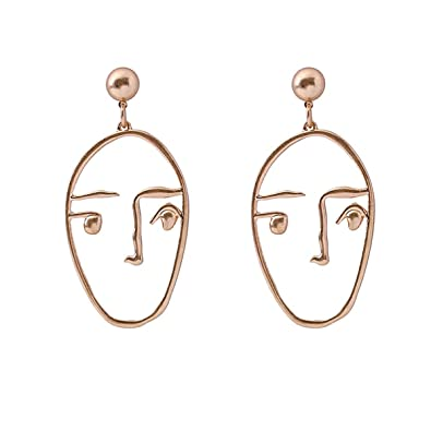 a6065a38161f8 Statement Face Earrings Vintage Hollow Out Dangle Piercing Gold Tone Stud  Earrings 1 Pair