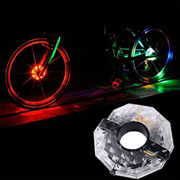 Yiwa - Bombillas LED para rueda de bicicleta, 4 colores, recargables, para radios