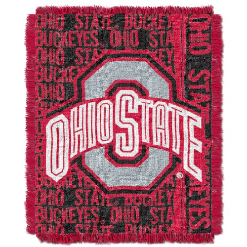 (The Northwest Company Officially Licensed NCAA Ohio State Buckeyes Double Play Jacquard Throw Blanket, 48