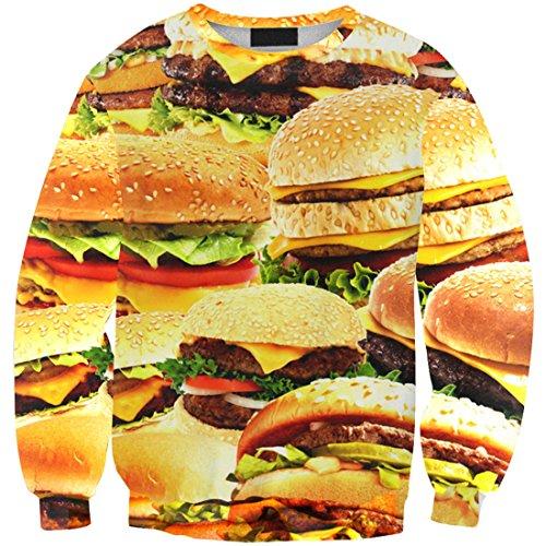 Yichun Femmes Filles Tops Loisirs Mince T-shirt Sweat 5 Hamburger #
