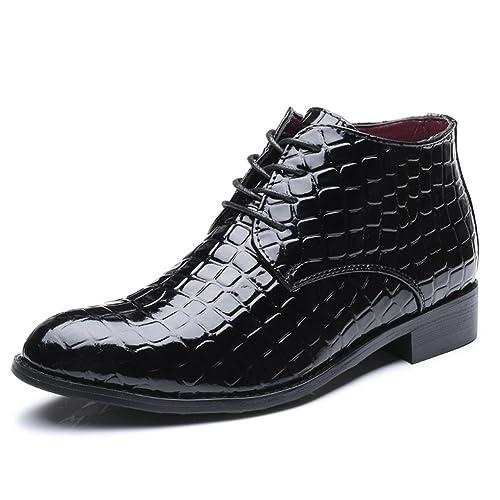 Men s Fashion Lace Up Patent Leather Ankle Boots Smart Dress Shoes UK Size Black B076P71Z3Q