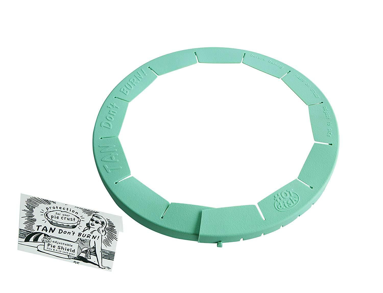Talisman Designs Adjustable Pie Crust Shield, BPA-free Silicone, Aqua, Fits 8.5'' - 11.5'' Rimmed Dish