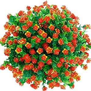 CQURE Artificial Flowers, Fake Flowers Artificial Greenery UV Resistant Plants Eucalyptus Outdoor Bridal Wedding Bouquet for Home Garden Party Wedding Decoration 5 Bunches (Orange Red) 43