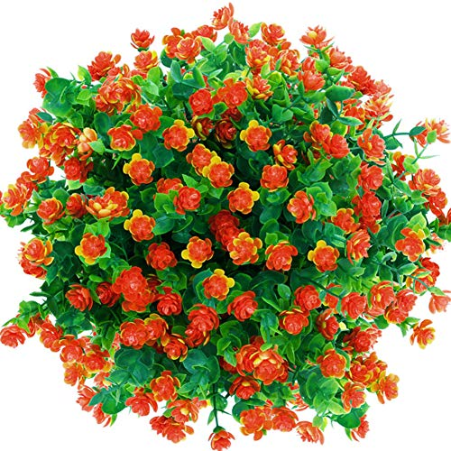 CQURE Artificial Flowers, Fake Flowers Artificial Greenery UV Resistant Plants Eucalyptus Outdoor Bridal Wedding Bouquet for Home Garden Party Wedding Decoration 5 Bunches (Orange Red)