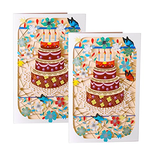 - 2pcs Birthday Greeting Card Cake Postcards Creative Handmade Gift Greeting Card