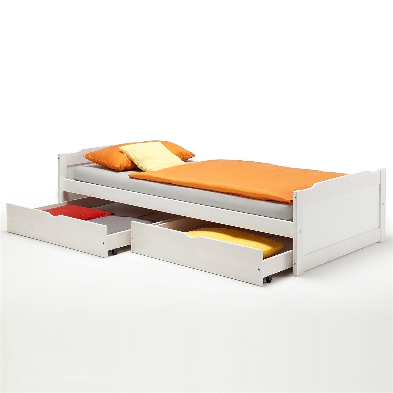 Kojenbett 90x200  Kojenbett Funktionsbett Jugendbett Bett Kiefer massiv weiss 90 x ...