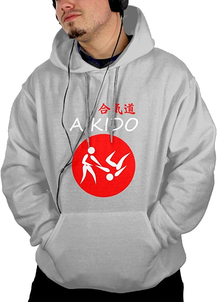 Jessicagf1990s Aikido Martial Arts Mens Front Pocket Pullover Hoodie Sweatshirt