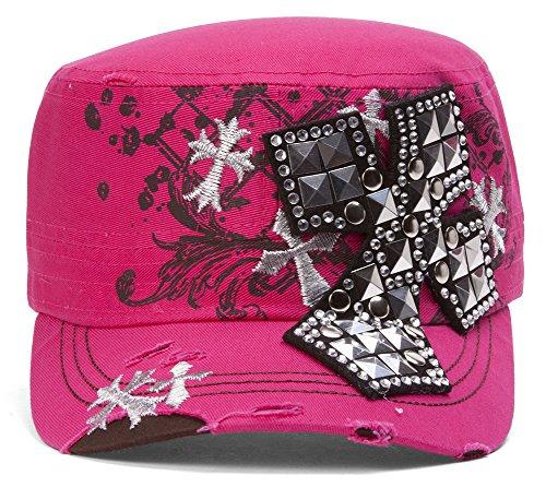 TopHeadwear Studded Cross Distressed Cadet Cap - Pink