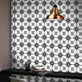 "Moroccan Mosaic & Tile House CTP78-01 Tafilalt Handmade Cement Tile 8""x8"" White and Black"