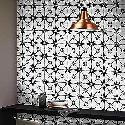 "Moroccan Mosaic & Tile House CTP78-01 Tafilalt Handmade Cement Tile 8""x8"" White and Black"