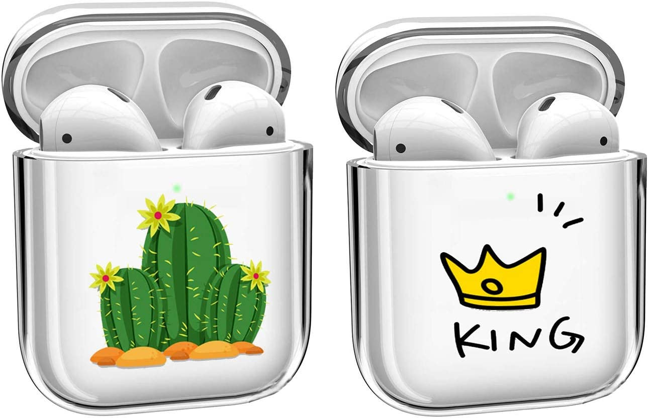 [2 Pack] Pure Clear Compatible with Apple AirPods 1 & AirPods 2 Charging Case, [Front LED Visible] Protective PC Hardshell Protective Shockproof Skin Earbuds Case Cover Skin Accessories,Cactuses+King