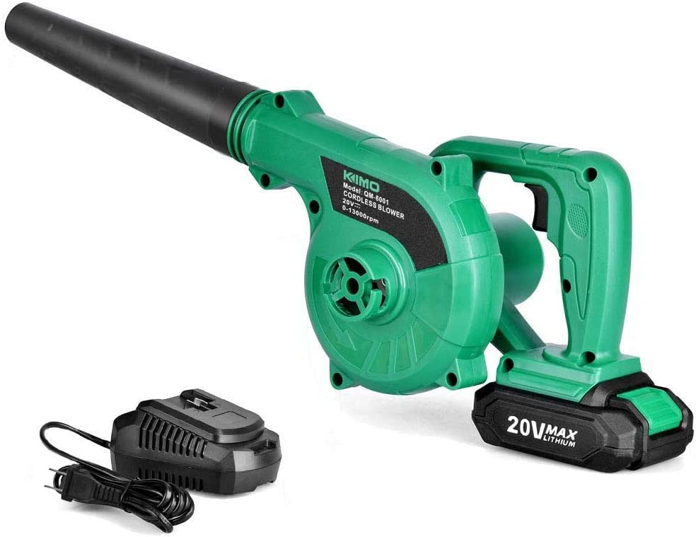 Cordless Leaf Blower - KIMO 20V Lithium 2-in-1 Sweeper/Vacuum 2.0 AH Battery for Blowing Leaf
