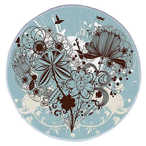 YOLIYANA Grunge Comfortable Round Pet Rug,Murky Floral Dragonfly Background with Swirls and Petal Retro Graphic for Pet,Diameter 31 Inches