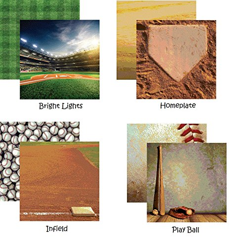 Baseball 2-12x12 Scrapbook Papers Set of 4 by ()