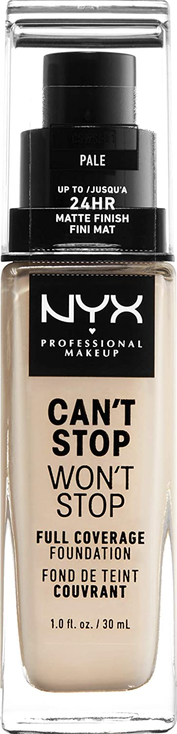 Nyx Professional Makeup Can't Stop Won't Stop Full Coverage Foundation, Pale, 1.0 Ounce