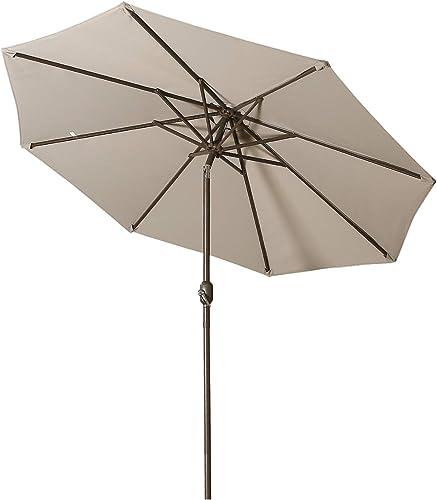 Aok Garden 9Ft Patio Outdoor Umbrella Market Table Fade-Resistant Umbrella with Push Button Tilt and Crank for Garden Backyard Deck,Update Grey