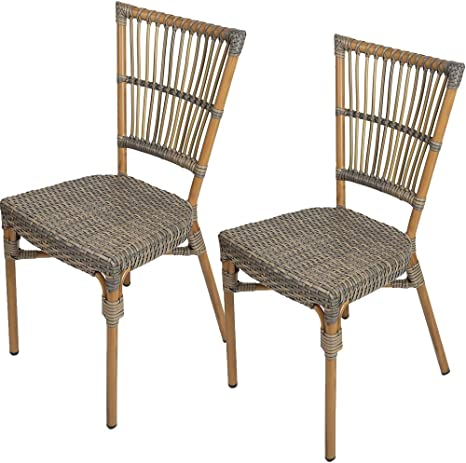 Amazon Com Lonabr Wicker Dining Side Chairs Set Of 2 Arm Less Patio French Cafe Bistro Chair With Aluminum Frame Indoor Outdoor Brown Kitchen Dining