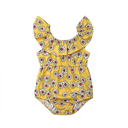 e383125cde4b Amazon.com  Cute Newborn Baby Girls Daisy Floral Romper Ruffle ...