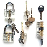 LSHI Transparent Padlock Crystal Lock Pick Training Practice Padlock for Beginners (3)