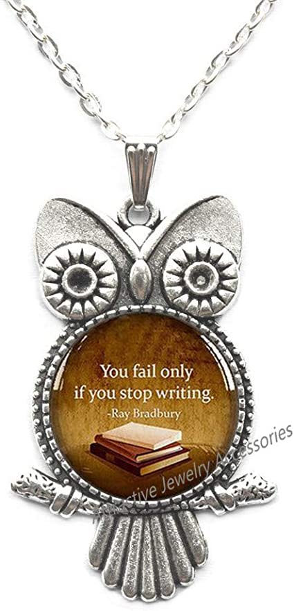 Writer Gift,Quote Locket Necklace You Fail Only If You Stop Writing Locket Pendant Book Lover Gift Book Addict Book Worm,QK080 Book Quote Locket Necklace