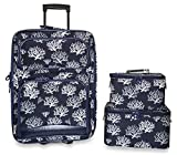 Ever Moda 3-Piece Carry On Luggage Set with Wheels for Travels (Seaweed - Navy Blue)