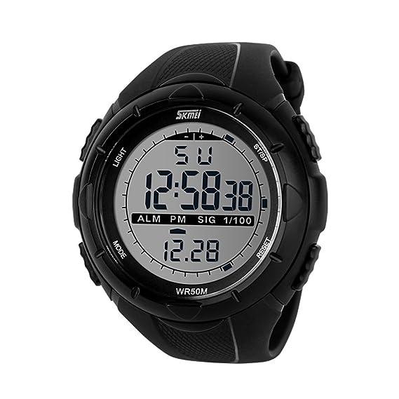 Reloj digital deportivo para hombre, números grandes, resistente al agua, cronómetro, cuenta atrás, LED, reloj de pulsera militar para hombre: Amazon.es: ...