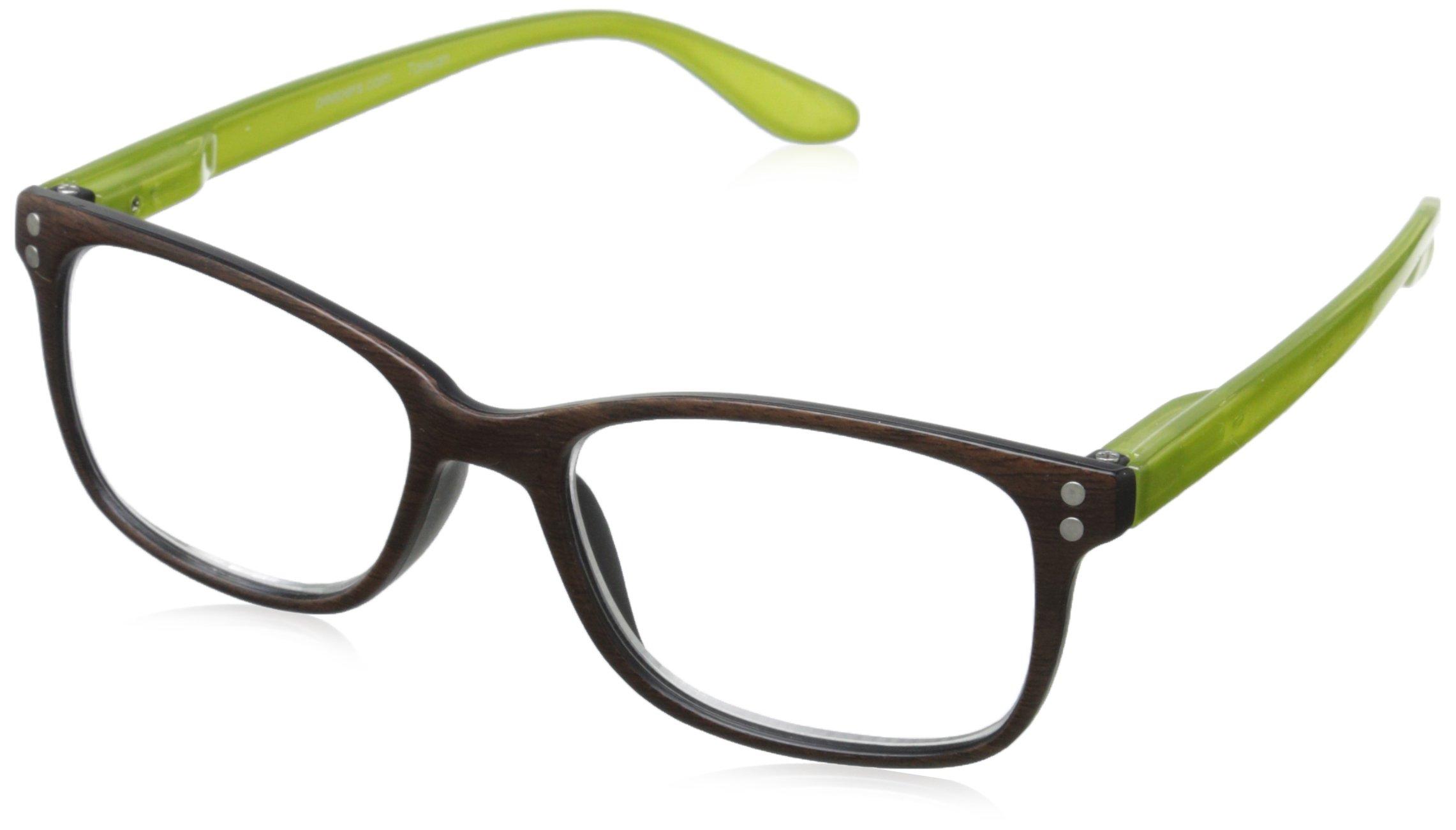 Peepers Wildwood Rectangular Reading Glasses, Brown & Green, 3.25