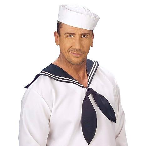 NET TOYS Cappello sotto-ufficiale di marina copricapo mozzo bianco e blu  scuro accessorio costume 242c63e8c7d8
