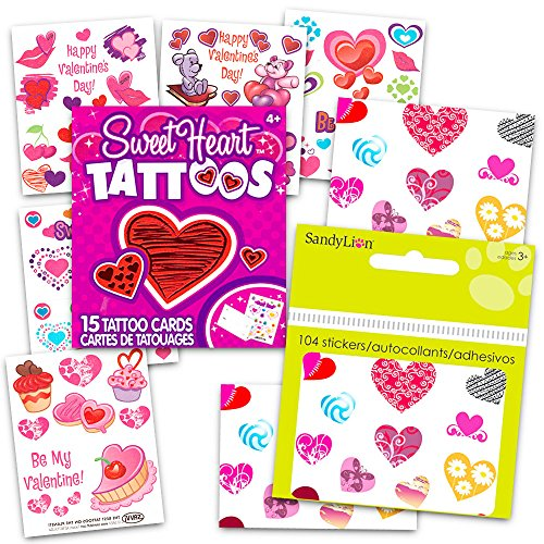 Heart Stickers and Tattoos Party Supplies Pack Over 100 Heart Stickers 50 Hearts Temporary Tattoos